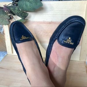 Prada Navy Blue scrunch driving moccasin loafer